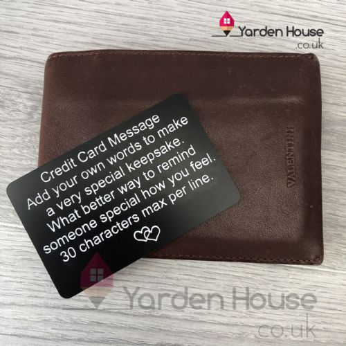 Personalised credit card note
